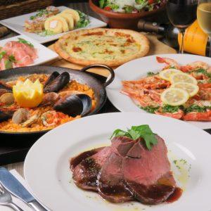 立川駅1分 本格パスタが美味しいイタリアン&スパニッシュのお店『CANTINA 立川店』でいただける、ローストビーフとパエリア、ピザなどの料理